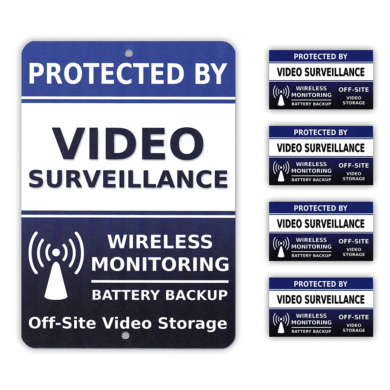 Video Surveillance CCTV Camera Security Alarm System Yard Sign & 4 Window Stickers - Stock # 718