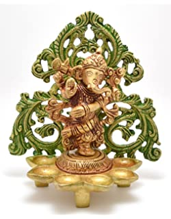 Two Moustaches Dancing Ganesha Carving Brass Diya Stand- Antique Yellow | Home Decor |