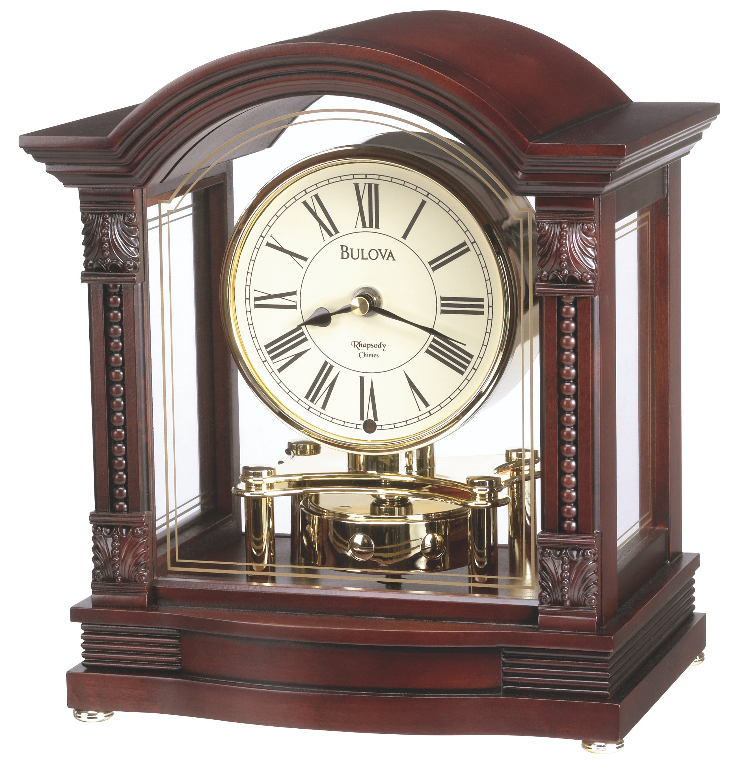 Bulova B1987 Bardwell Clock, Antique Walnut Finish by Bulova