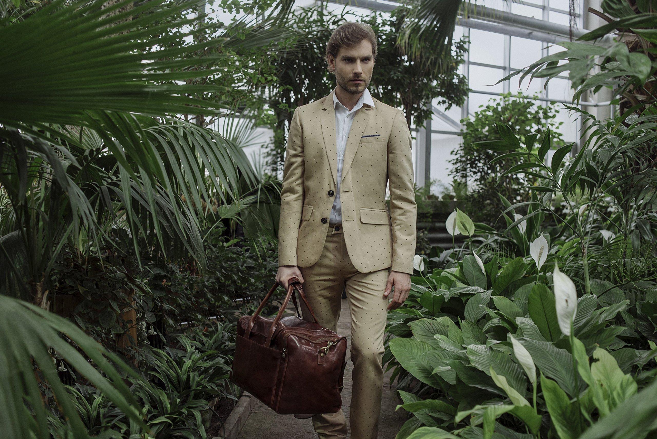 Leather Duffel Bag, Weekend Bag, Gym, Large Travel Bag, Cognac, Brown - Time Resistance by Time Resistance (Image #8)