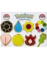 Pokemon Gym Badges - Kanto Gen 1 (Gold Trim)