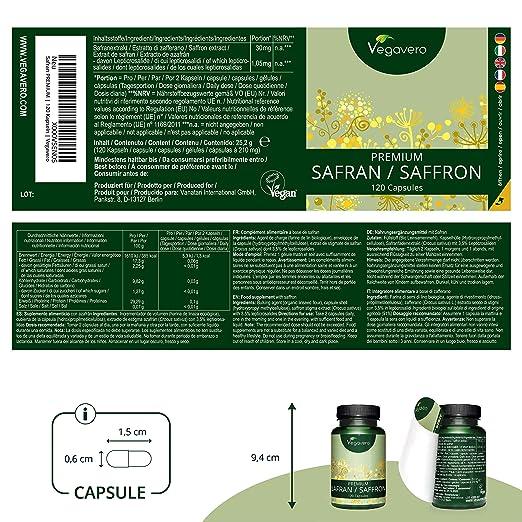 Azafrán Vegavero® | Eficacia Probada Clínicamente | Producido en España | 120 Cápsulas | 3,5% Lepticrosalidas | Relax + Ayuda Para Dormir + Ansiedad + ...