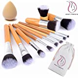 Bamboo Makeup Brushes Start Makers 11 Pieces Natural Bamboo Make up Brushes Set Vegan Pro Cosmetics Kabuki Brush Makeup Brush Set Extremely Soft Makeup Brush Set With Beauty Sponge