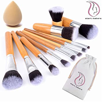 6db42b3878b5 Bamboo Makeup Brushes Start Makers 11 Pieces Natural Bamboo Make up Brushes  Set Vegan Pro Cosmetics Kabuki Brush Makeup Brush Set Extremely Soft ...