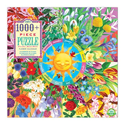 eeBoo Flower Calendar Jigsaw Puzzle for Adults, 1000 Pieces: Toys & Games