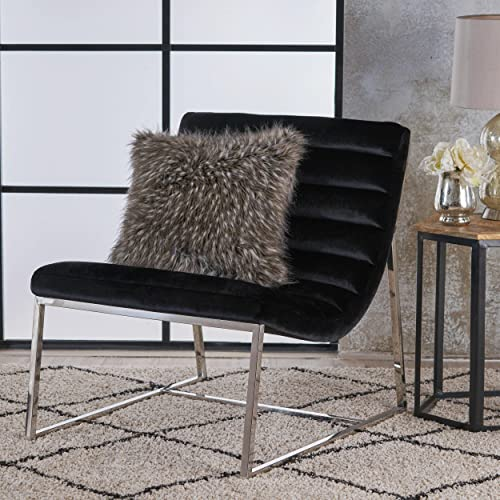 Christopher Knight Home Raoul Parisian Modern Velvet Sofa Chair, Black Stainless Steel