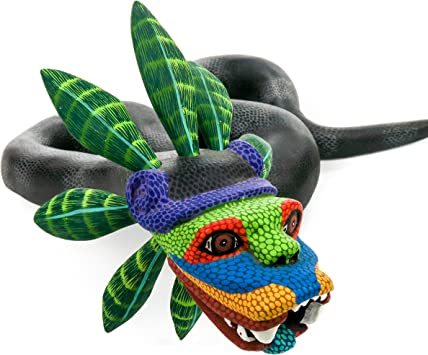 Quetzalcoatl serpiente Oaxacan Alebrije para tallar madera Mexican Folk Art Escultura pintura por Eleazar Morales: Amazon.es: Hogar