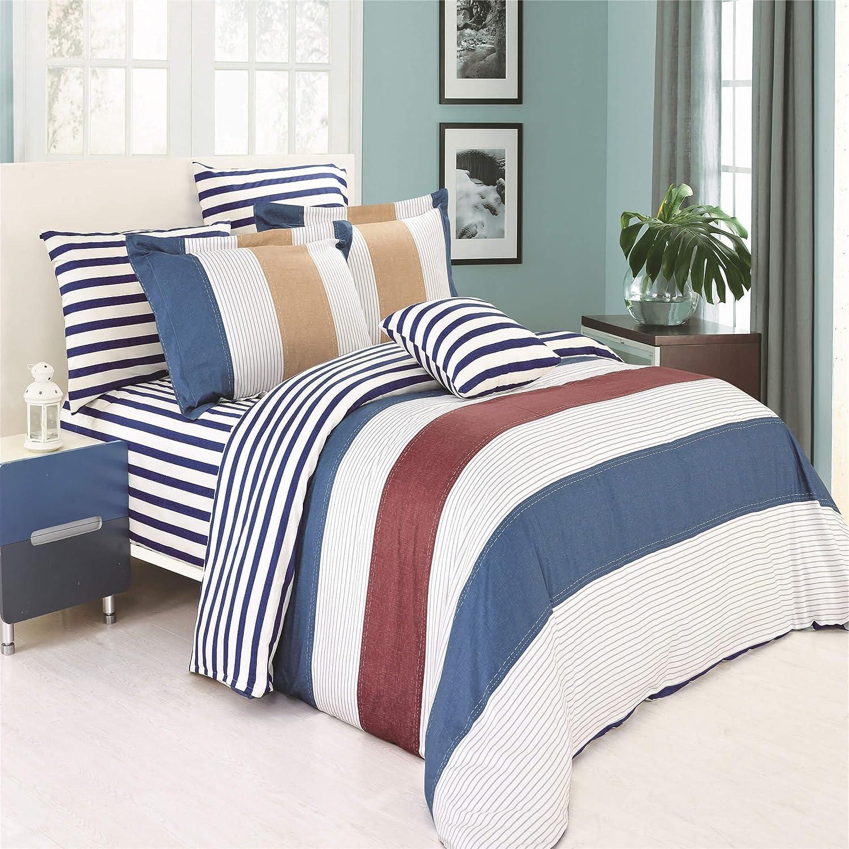 North Home MIDLAND0DCTW 100/% Cotton Duvet Cover Set Twin Stripes Blue 4 Piece