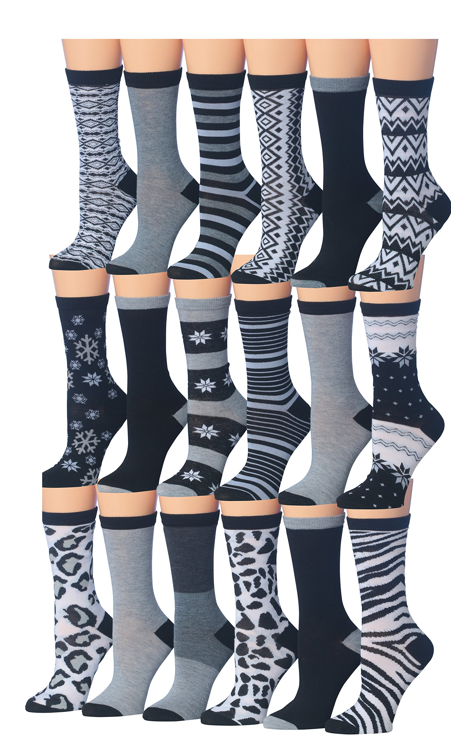 Tipi Toe Women's 18-Pairs Value Pack Monochrome Patterned Black & White Winter Crew Dress Socks, (sock size 9-11) Fits shoe size 5-9, WC62
