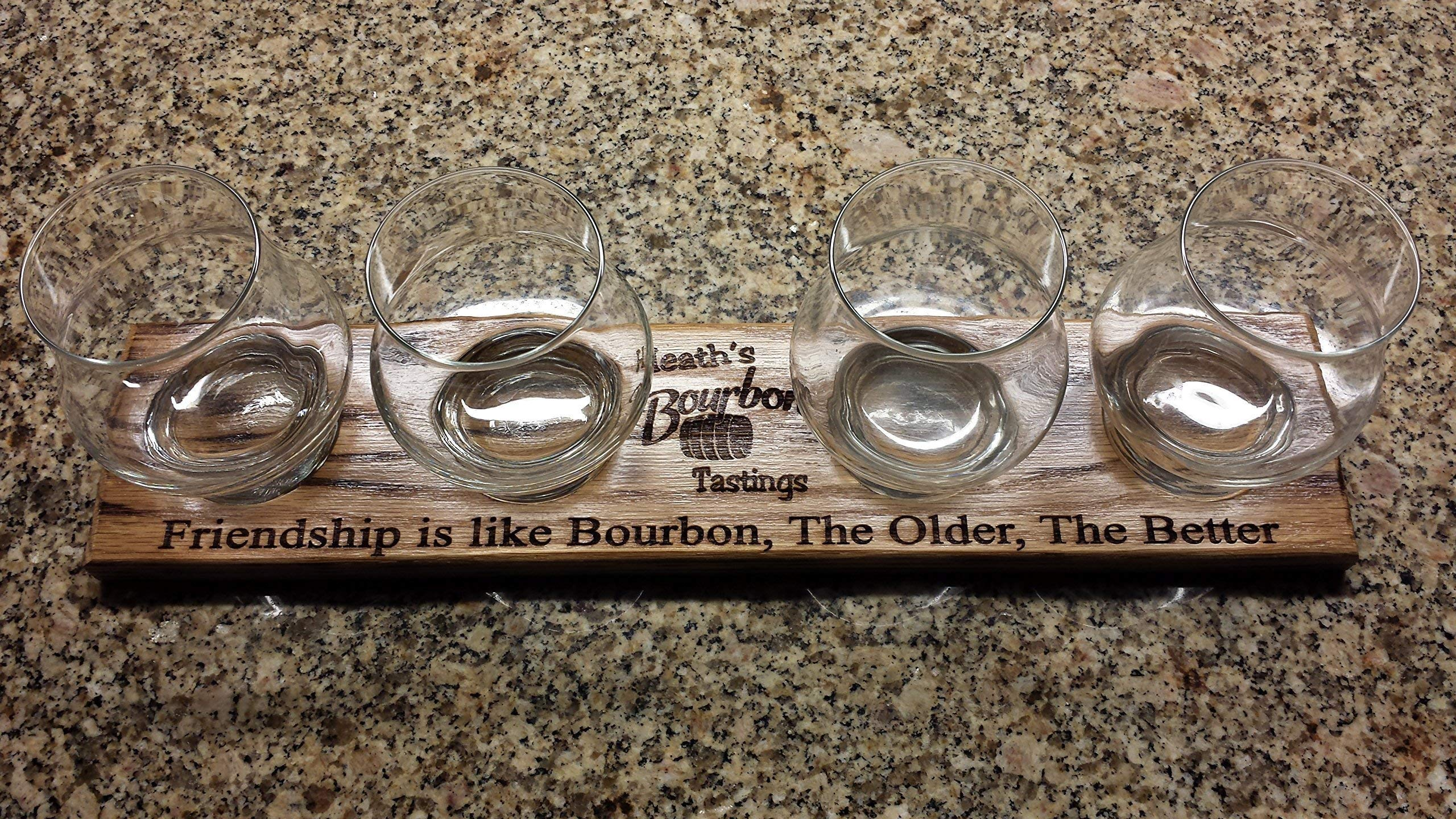 Laser Engraved Personalized Oak Bourbon Tasting Tray with glasses by Precision Wood Carving (Image #5)