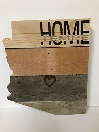 Amazoncom Tempe Arizona Home Sign W Branded Heart In Reclaimed