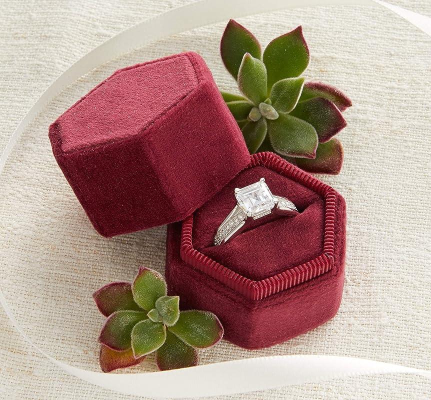 Ring Bearer Box Initial Ring Box Monogram Velvet Ring Box 6 Colors Engagement Ring /& Wedding Set Keepsake Box Octagon Double Ring Box