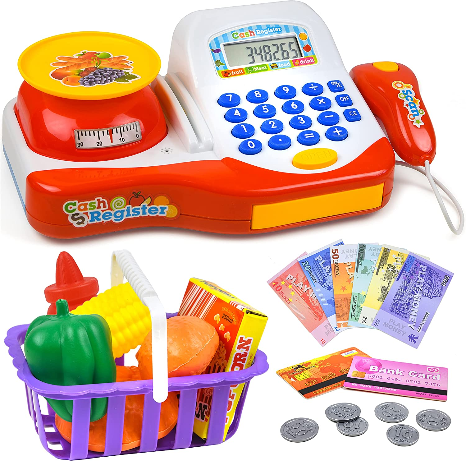 Play Brainy Play Cash Register for Kids with Scanner, Calculator, Play Food with Scale, Shopping Basket, Fake Paper Money and Coins, and Credit Cards, Interactive Early Learning Playset