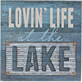 "Lovin' Life at the Lake Box Wall Art Sign, Primitive Lake House Home Decor Sign With Sayings 8"" x 8"" By Barnyard Designs"