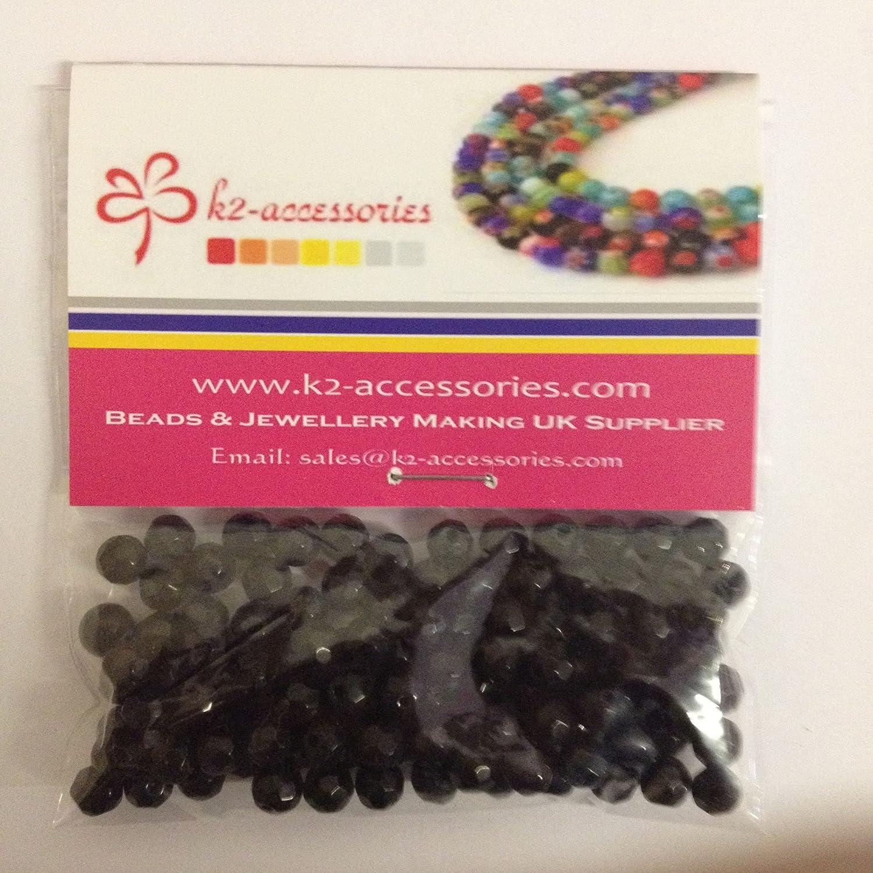 100/pi/èces 6/mm facettes cristal Perles de verre/ /A3501 /Noir/