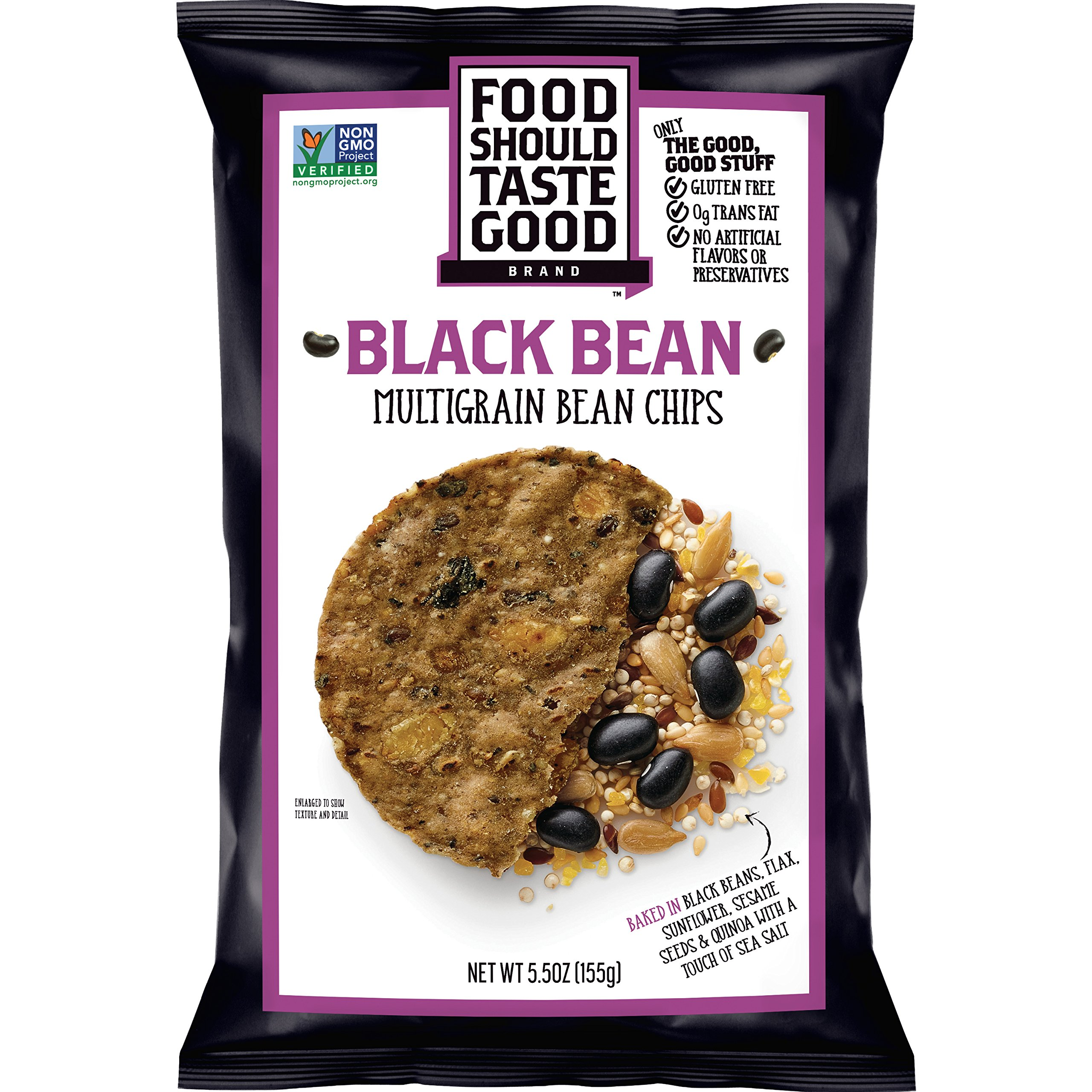 Food Should Taste Good, Tortilla Chips, Multigrain Bean Chips, Black Bean, 5.5 oz (Pack of 12)