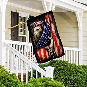 Bald Eagle Behind American House Flag Double Sided, Large 28X40 Garden Flag Outdoor Decoration, Combat Boots, Hand Pulling Down USA Flag, Veteran Day Gifts, Military Flag, Gift for Army Father
