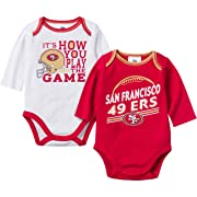 NFL San Francisco 49Ers Unisex-Baby 2-Pack Long-Sleeve Bodysuits, Red/White, 0-3 Months