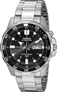 Casio Men s MTD-1079D-1AVCF Super Illuminator Diver Analog Display Quartz  Silver Watch 2f054e4ca4