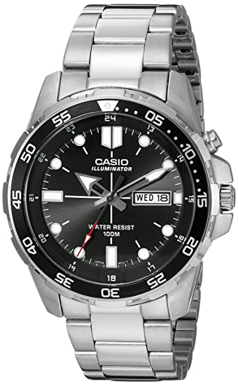 Image Unavailable. Image not available for. Color  Casio Men s  MTD-1079D-1AVCF Super Illuminator Diver Analog Display Quartz Silver Watch 1adcb7563e6e