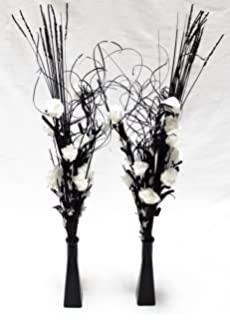 Black and silver diamante artificial flowers in a black diamante link products set of 2 glass vases with artificial flowers grasses white mightylinksfo