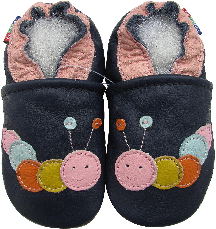 Carozoo Shoeszoo Caterpillar dark blue little Soft sole leather infant crib shoes CL1066-$p