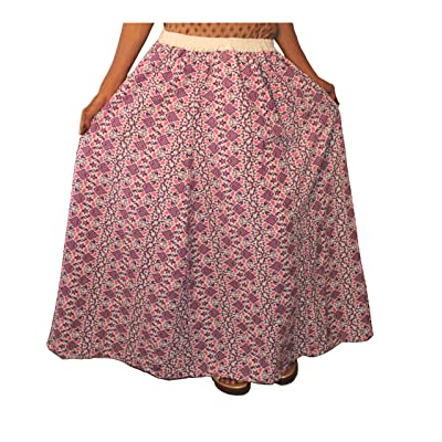 Lakkar Haveli Women's Long Skirt Multi Color Lehenga Geometric Print Ghagra Hippie Plus Size at Women's Clothing store