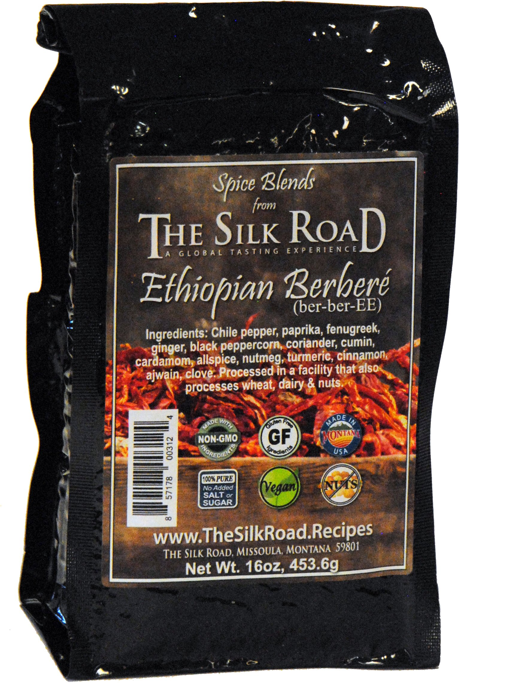 Ethiopian Berbere Spice Blend from The Silk Road Restaurant Bulk 1lb (16oz), No Salt   All Natural East African Seasoning   Vegan   Gluten Free Ingredients   NON-GMO   No Preservatives by The Silk Road A Global Tasting Experience