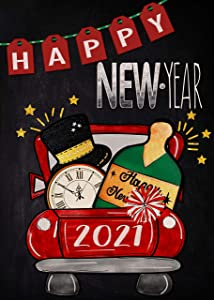 Furiaz Happy New Year Garden Flag Red Truck 2021 Firework Celebration, Home Decorative House Yard Small Flag Double Sided, Christmas Holiday Outdoor Welcome Decorations Seasonal Outside Decor 12x18