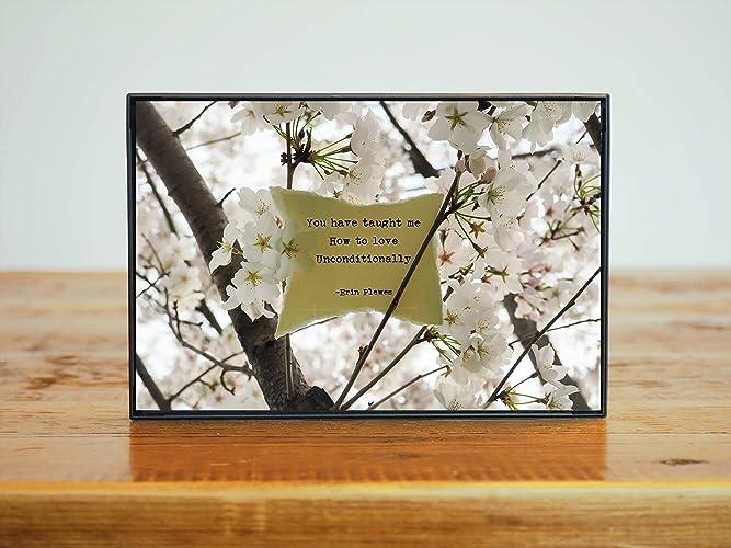 unconditional love inspirational poem framed photo art print cherry blossom gift for her 4x6