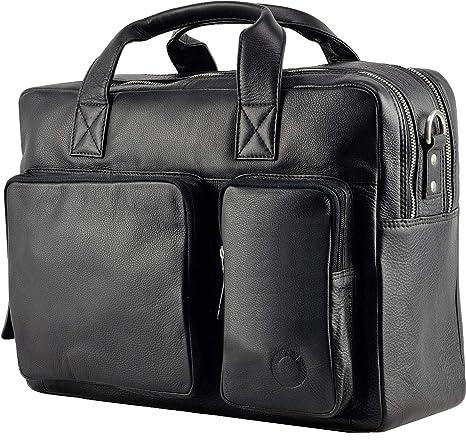 c37be5c08d399 Echt Leder Aktentasche Business Tasche Schultertasche Umhängetasche DIN-A4  Braun Laptoptasche Notebooktasche Messenger Bag DIN