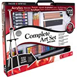 Daler Rowney Complete Art Set - Simply All Media 111 Piece Art Studio - Easel, Canvas, Paints, Brushes, Carrying Bag and Accessories