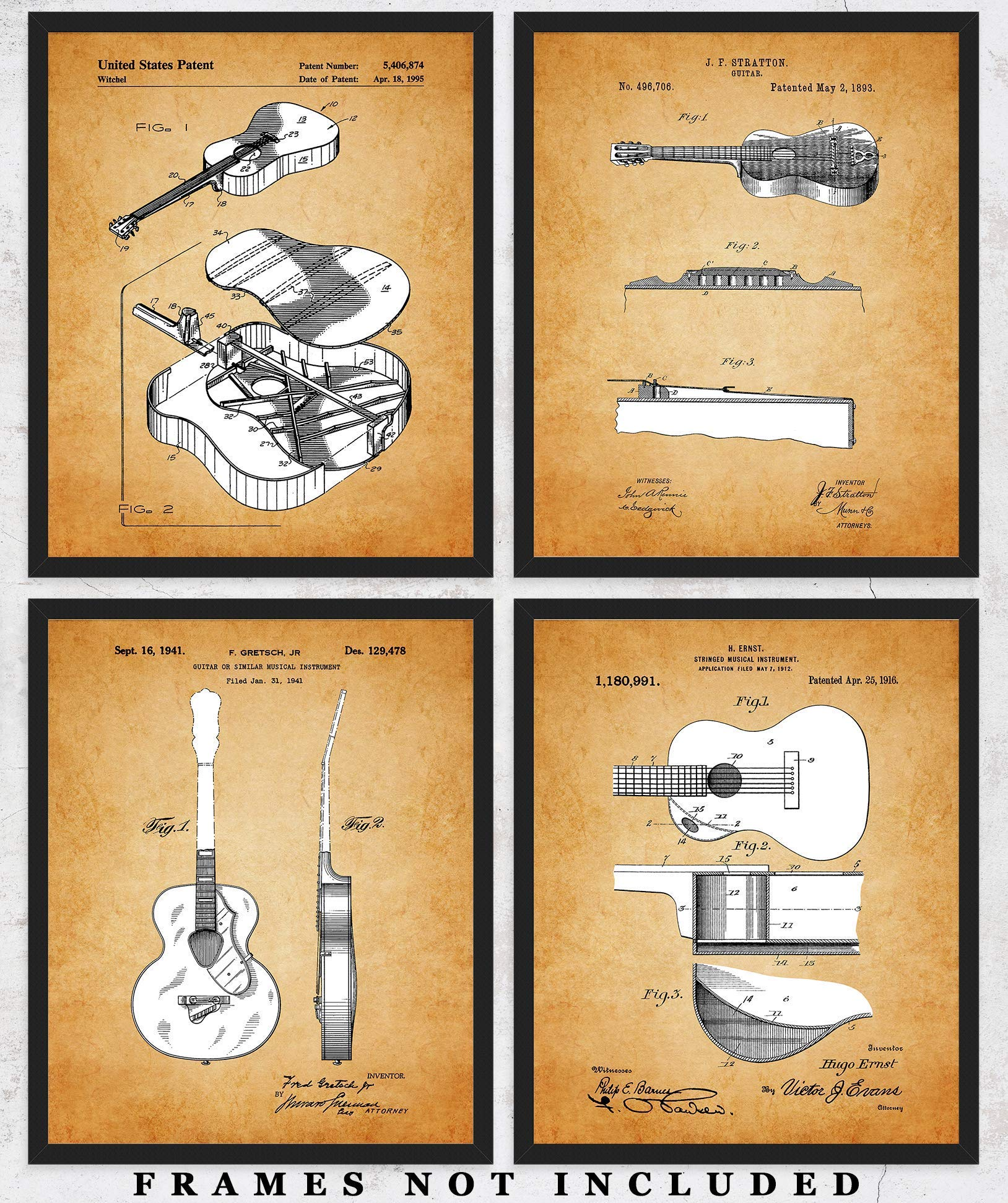 Vintage Acoustic Guitars Patent Wall Art Prints: Unique Room Decor for Boys, Girls, Men & Women - Set of Four (8x10) Unframed Pictures - Great Gift Idea for Music Lovers by Qi Packs