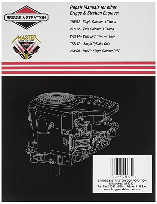 briggs stratton 273521 repair manual for intek v twin ohv engines rh amazon co uk b&s intek engine manual Intek Engine 445777 Carburetor