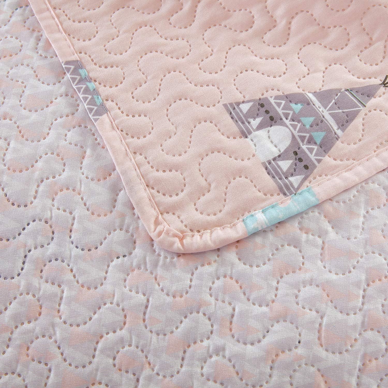 1 Quilt+2 Pillow Sham Kids Girls Cactus Quilt Set Full//Queen Size Pink Bedding Quilt Soft Lightweight Summer Thin Bedspread Coverlet All Season Reversible Bed Set with Sham for Kids Teens Adults