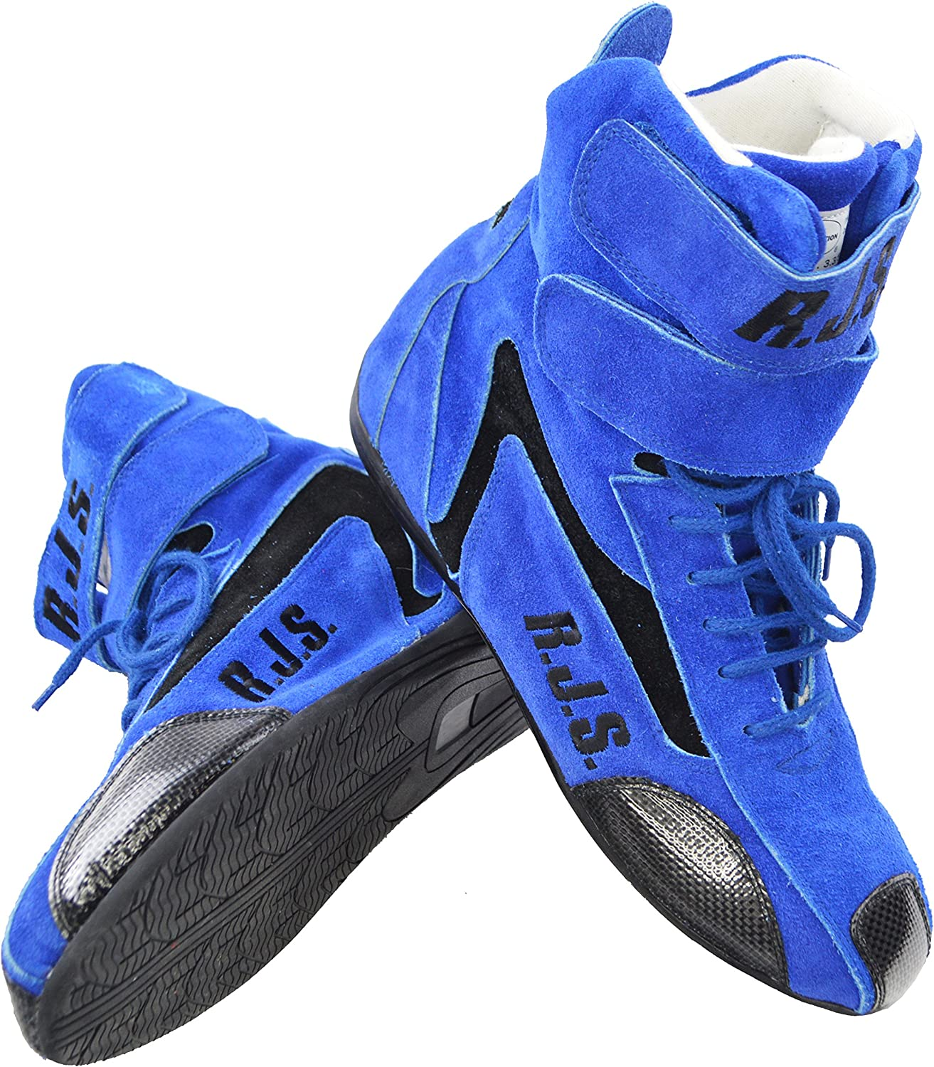RACERDIRECT.NET RJS Racing Safety Equipment Blue HI TOP Shoes Boots SFI 3.3//5 US Mens Size 8 Womens Size 10