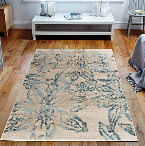Elite Collection Style 11 Cream Blue Abstract Rug with Soft Pile 6 x 9