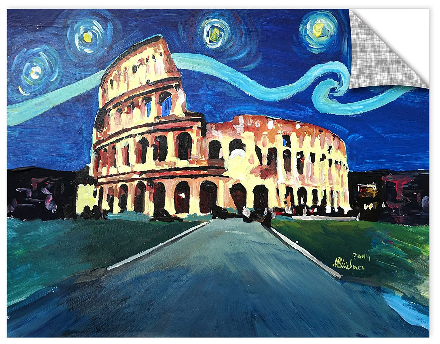 24X32 Marcus//Martina Bleichner Starry Night Over Colloseum In Rome Italy  Removable Wall Art Mural