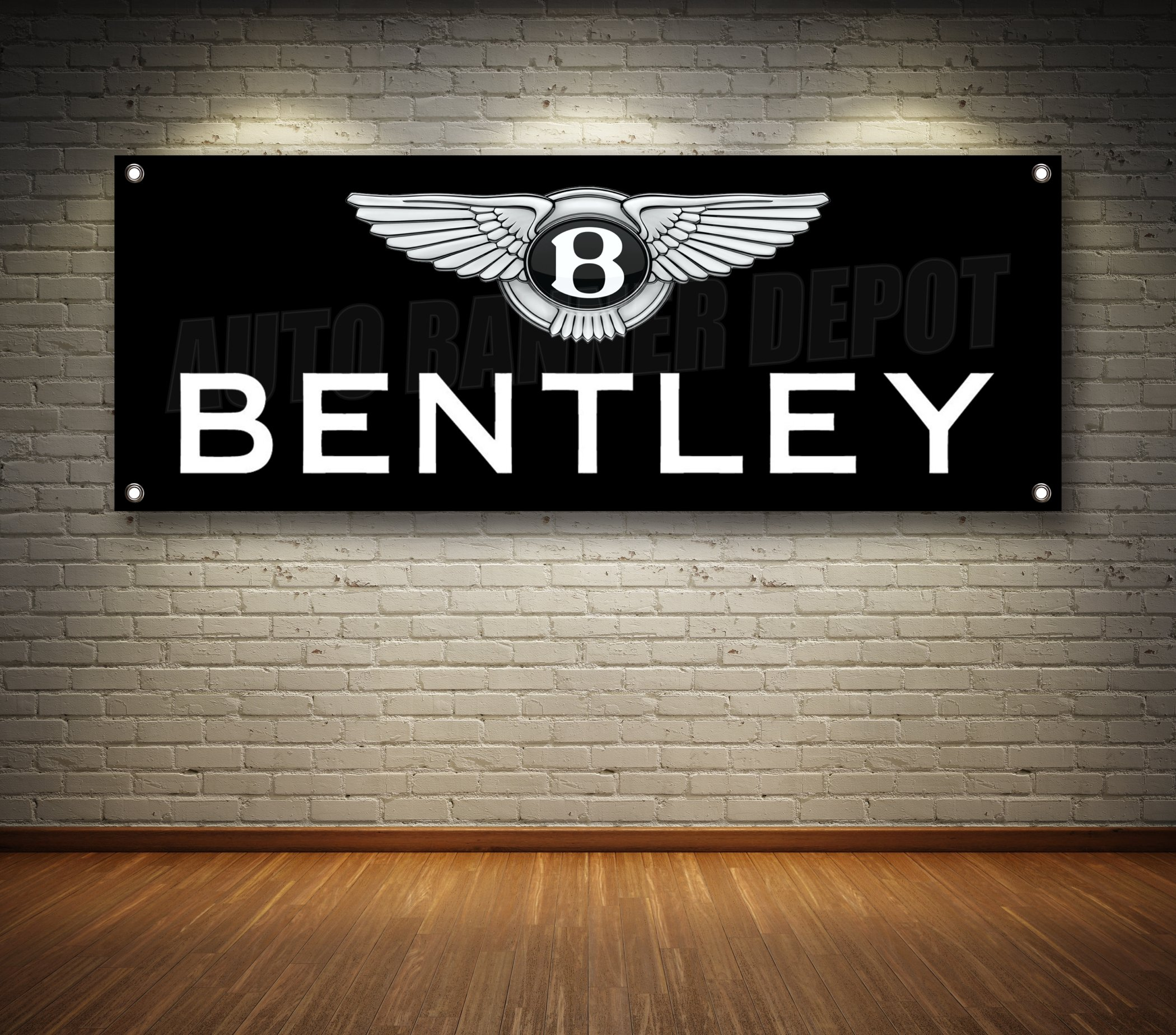 BENTLEY AUTO DEALER 1-SIDED BANNER SIGN 14oz VINYL -- MULTIPLE SIZES & STYLES (Black, 18'' x 48'')
