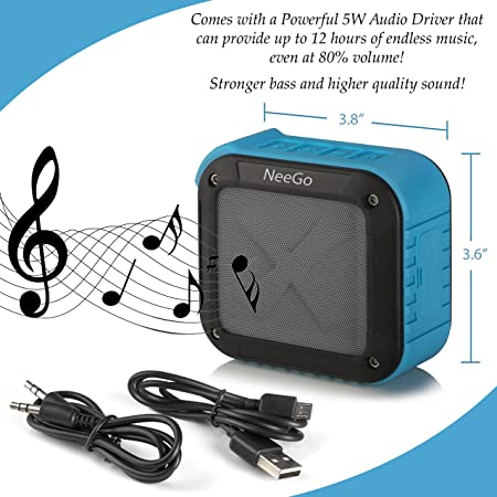 Image result for NeeGo Outdoor Portable Bluetooth Speaker Waterproof with SD Memory Card Slot, FM Radio and 12 Hour Playtime 5W Audio Driver, Pairs with All Bluetooth Devices