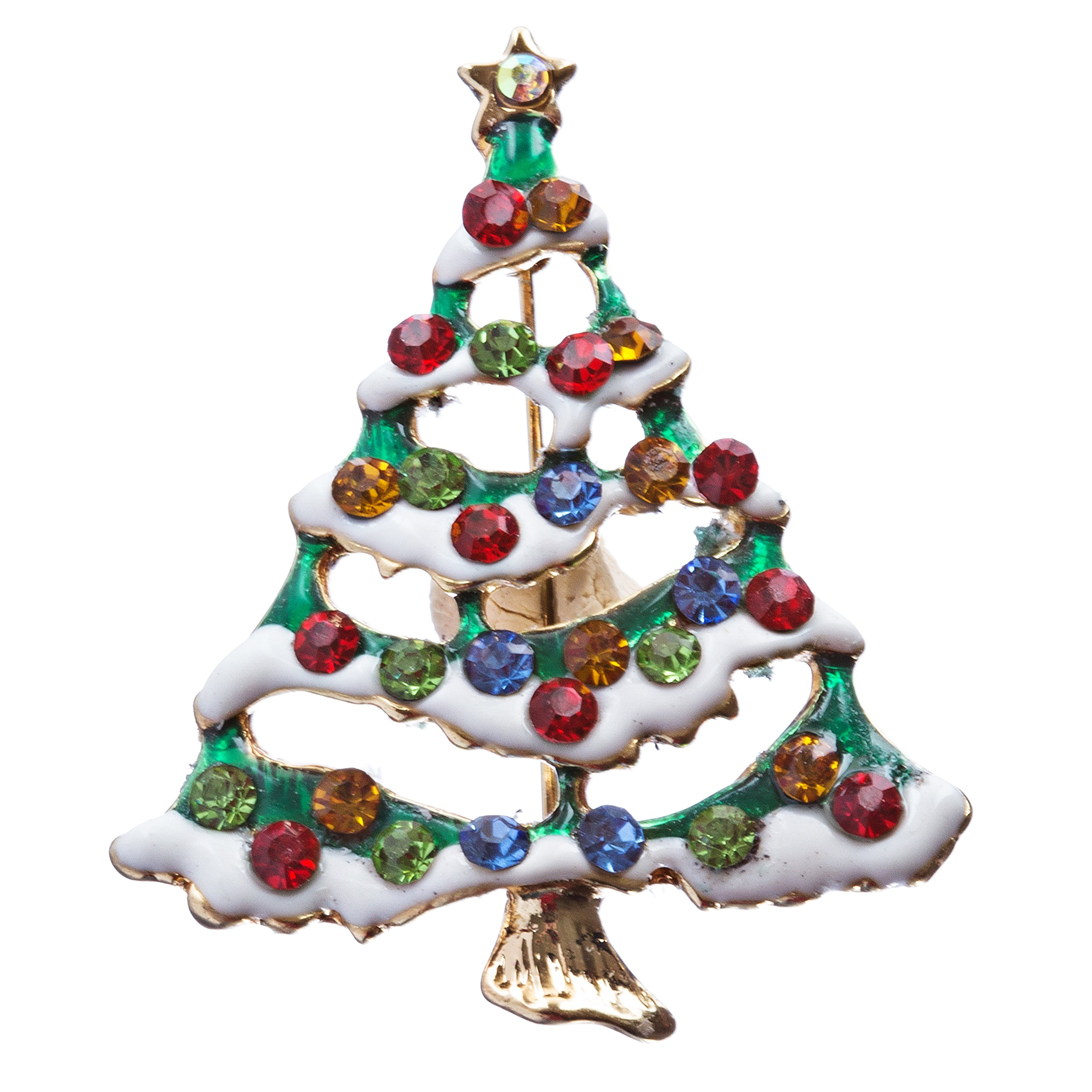 ACCESSORIESFOREVER Christmas Jewelry Crystal Rhinestone Lovely Holiday Tree Pin BH142 Multi