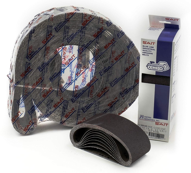 United Abrasives-SAIT 60061 1AX/2AX Closed Coat Aluminum Oxide 1/2-Inch x 18-Inch 60 Grit Quick Ship Sanding Belt, 10-Pack