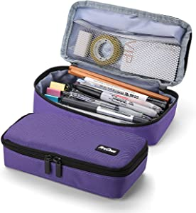 ProCase Pencil Bag Pen Case, Large Capacity Students Stationery Pouch Pencil Holder Desk Organizer with Double Zipper, Portable Pencil Pouch for School Office Supplies –Purple