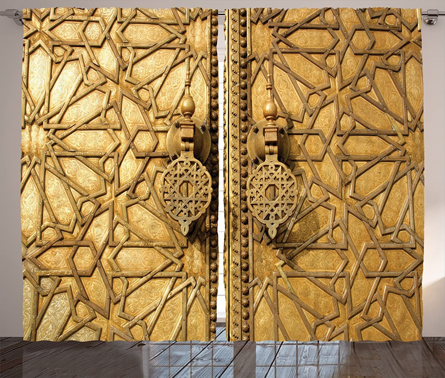 Amazon.com: Ambesonne Moroccan Curtains, Main Gates of Royal Palace ...