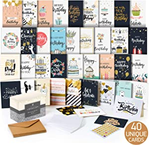 Happy Birthday Cards Assortment - Bday Cards in Bulk - 5x7 Assorted Variety Box Set 40 Pack Unique Designs with Envelopes - Birthday Card for Men Women Kids - for Office - Greeting Message Inside