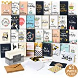 Happy Birthday Cards Assortment - Bday Cards in Bulk - 5x7 Assorted Variety Box Set 40 Pack Unique Designs with…