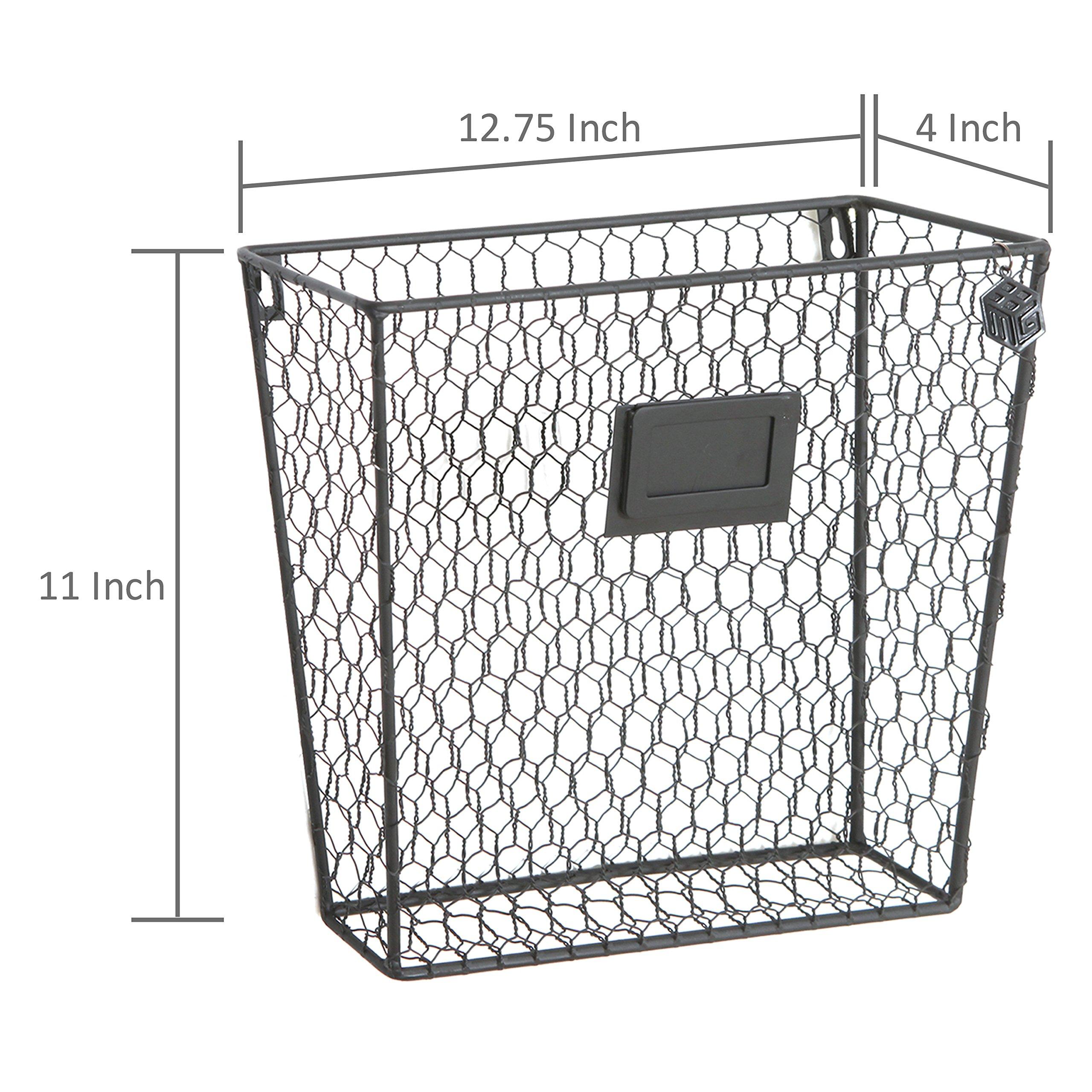 MyGift Rustic Chicken Wire Wall-Mounted Magazine & File Folder Baskets w/Chalkboard Label Inserts, Set of 2 by MyGift (Image #7)