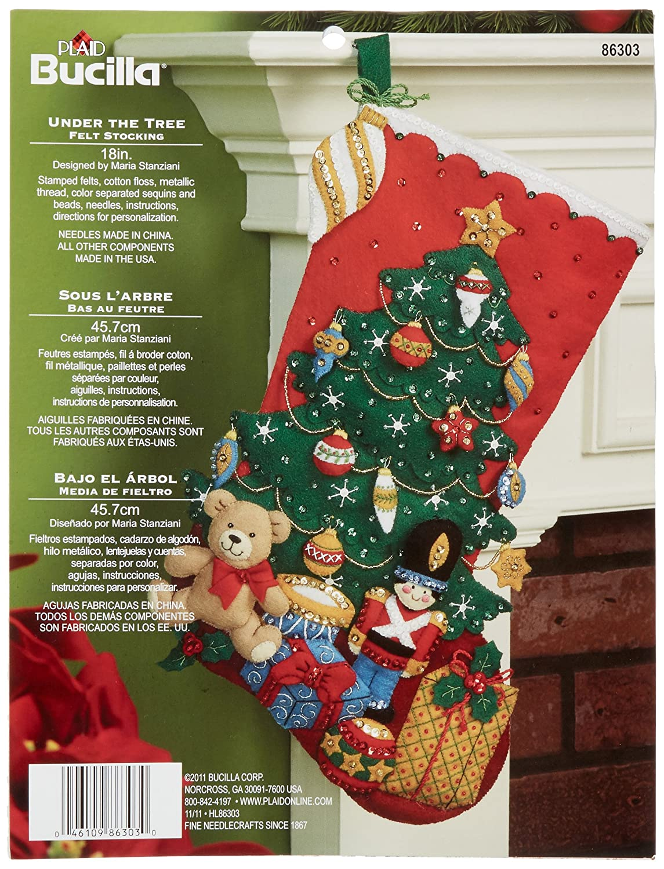 Bucilla 18-Inch Christmas Stocking Felt Applique Kit, 86303 Under The Tree Plaid Inc dimensions needlecrafts holiday stitchery