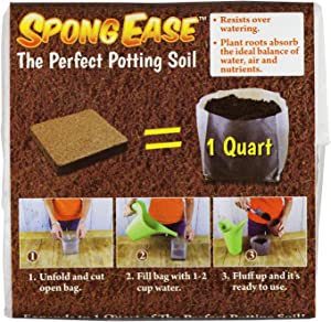 SpongEase Potting Soil 1QT Compressed Coconut Coir for seedlings, cuttings, Vegetables, Berries, Roses. Supplies Oxygen, Water and Your Added Fertilizer for Healthy Plants - Made from Coconut husks