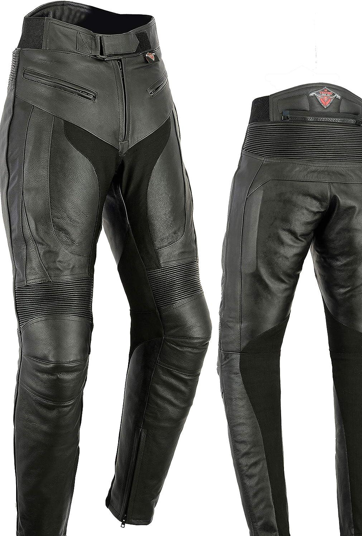 Con protectores de quita y pon Texpeed Cuero vacuno Pantalones de motociclismo para mujer Homologaci/ón CE